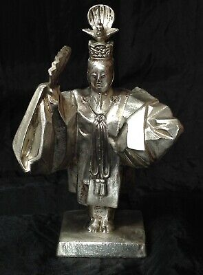 Antique Unusual Chinese Emperor Silver Metal Figure with Bird & Fan, Signed Base