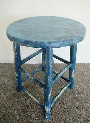 "Vintage Stool Blue Paint Primitive Pine Wood 18"" Tall Round 13"" Seat Diameter"