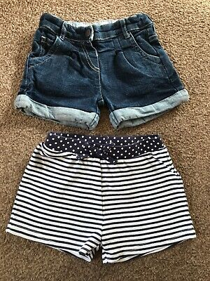 2 Pairs Girls Shorts Age 3-4 Years. 1 X Denim 1 X Cotton.