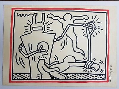 Drawing marker on paper signed Keith Haring