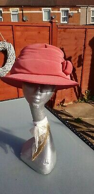 Terracotta Ladies Short Brimmed Hat Wedding Races Church Occasion Sunday Best