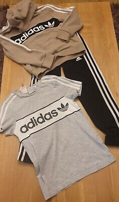 Adidas Boys Age 7-8 Years Tracksuit Joggers T-shirt Jumper Cream Black Grey