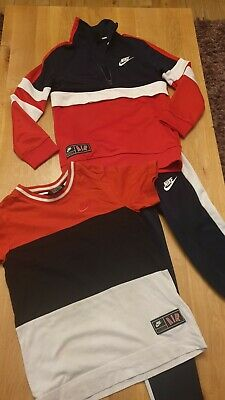 Nike Air Boys Age 7-8 Years Tracksuit Red Blue White Joggers T-shirt Jumper