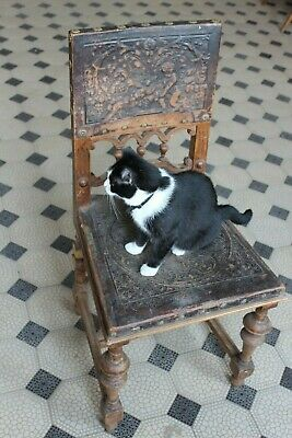 Antique Seated Ladder Back Arm Chair Farmhouse Dining Kitchen