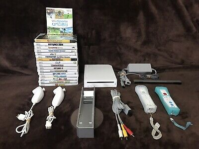 Nintendo Wii Console With 17 Video Games Fully Functional. W/ Super Mario Galaxy