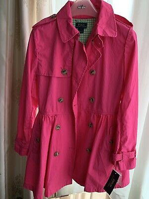 Bnwt Girls Bright Pink Ralph Lauren Polo Rain Trench Jacket Coat Age 12