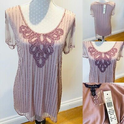 Ladies LONG TALL SALLY Pink Beaded Party Top Short Sleeve Mesh Sz 14 Embellished
