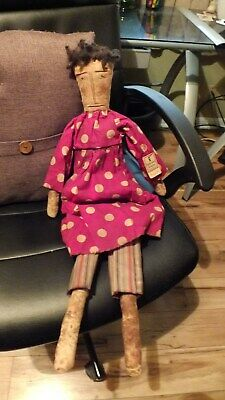 primitive  handmade doll 28 inch with red dress