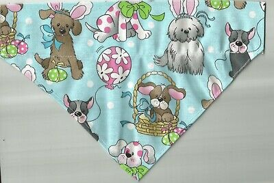 Small Dog/Cat  Scarf/ Bandana ...Easter/Blue w/dogs print!!!!!!