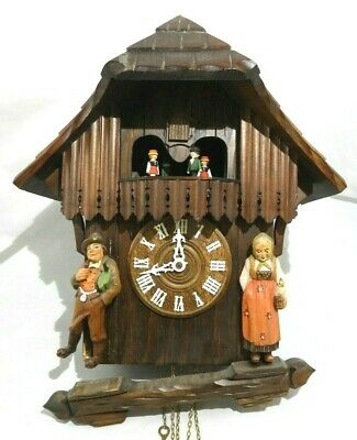 Vintage Black Forest Regula 1-Day Cuckoo Clock W/ Musical Dancers