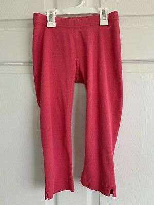 Hanna Andersson Size 130 Macaron Pink 100% Cotton Ribbed Capri Leggings Cropped