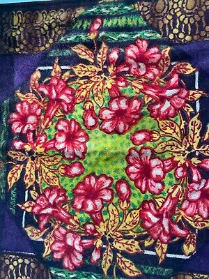 Antique Wool Mohair Lap Blanket Sleigh Carriage Floral Orchids Design Bold Color