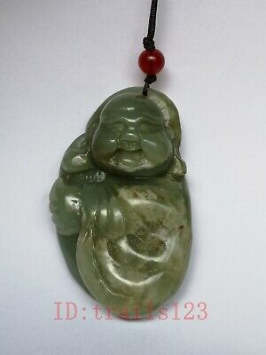 Collection Old China Xinjiang Jade Hand Maitreya Buddha Statue Pendant Amulet