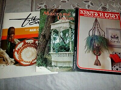 Lot 3 Macrame Pattern Books, Knits R Easy, Fiber Arts, Macrame Unlimited