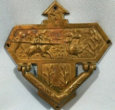 Antique Brass Door Knocker Architecture LARGE HUNTING Scene Cross RARE Lodge
