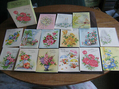 UNUSED Partial Box Vintage Mid-Century Stationery 15 Petite Greeting Cards