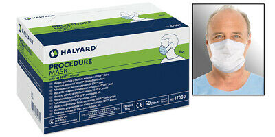 Halyard Procedural Earloop Face Mask #47080 Blue Bx/50 Medical USA Surgical