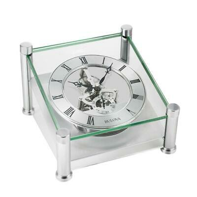 Solid Brushed Silver Metal Case With Skeleton Movement Table Clock