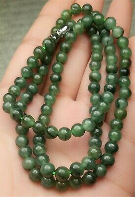 "Certified Oily Green Natural A Jade Jadeite Carved 5MM Beads 20""inch Necklace"