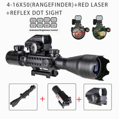 Pinty 4-16x50 EG Rifle scope Illuminated Red Laser 4 Reticle Green/Red Dot sight