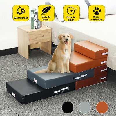 Portable Dog Cat Pet Folding 2-Steps  Stairs Ramp Ladder Leather Cover Sofa Bed