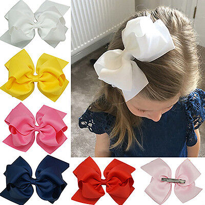 LC_ Girl's Large Double Layers Hairbow Hair Bow Grosgrain Ribbon Clip Hairpin