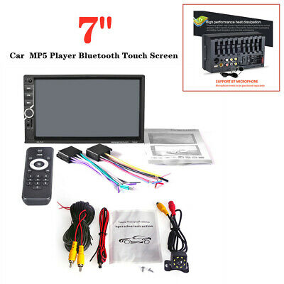 """7"""" Double 2 DIN Car MP5 Player Bluetooth Touch Screen Stereo Radio + 8LED Camera"""