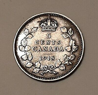 1918 Canada 5 Cents (92.5% Silver) Coin - King George V