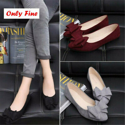 Women's Bow Boat Shoes Loafers Pumps Ladies Slip On Flats Comfort Shoes Casual