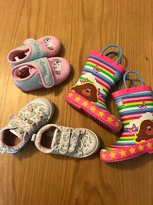 Toddler Girls Size 5 Shoes Bundle - Hey Duggee Wellies, Trainers And Slippers