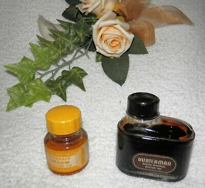 WATERMAN Brown Ink and WINSOR & NEWTON Ltd Mandarin Yellow Ink