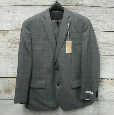 Michael Kors Suit Mens 44L 37W Traditional Fit Box Print Silver Wool 2 Piece New