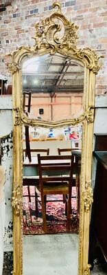 ANTIQUE STYLE BAROQUE FRENCH GOLD TRUMEAU / PIER FLOOR /WALL MIRROR 175cm