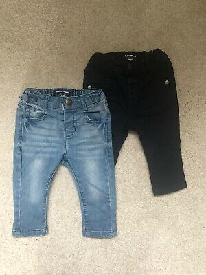 Two Pairs Next Baby Boys Jeans 3-6 Months (Light & Dark Blue)