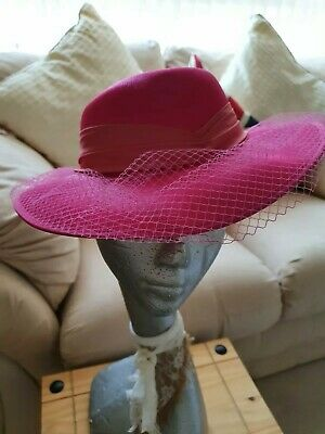 Fuschia Pink Ladies Hat Wedding Races Church Occasion Sunday Best Formal Theatre