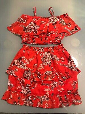 River Island Girls Summer Outfit Frilled Skirt & Cropped Top Age 7-8