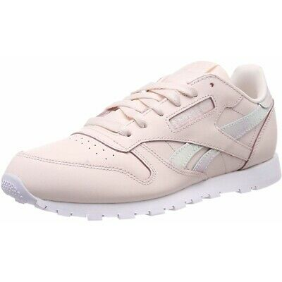 Reebok Classic Leather Pale Pink/White Leather Junior Trainers Shoes