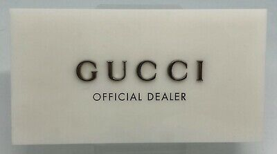 GUCCI Display OFFICIAL DEALER LOGO PLAQUE WHITE PLEXIGLASS W/ Silver Gucci Logo