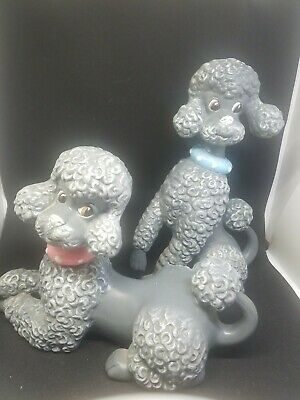 Two Vintage Ceramic Atlantic Mold French Poodles figures GRAY Pink BLUE Collars