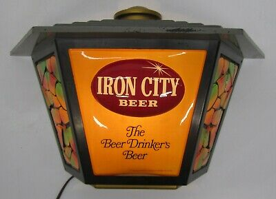 Vtg Iron City Beer Pittsburgh Brewery Advertising Light Sign Lamp Post Bar Pub