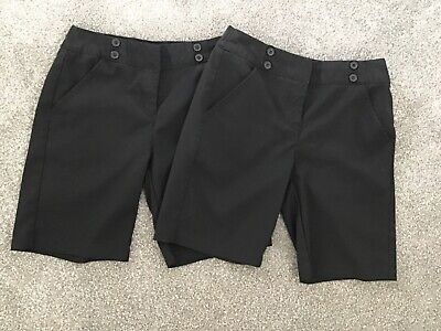 2 x pairs Girls School shorts age 11-12 years Black Marks & spencer