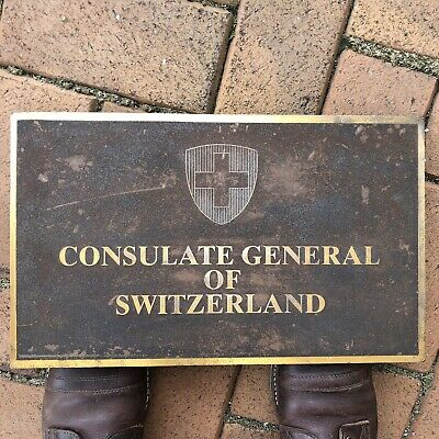 Rare Heavy Bronze Consulate Embassy Sign Plaque Architectural Switzerland Seal