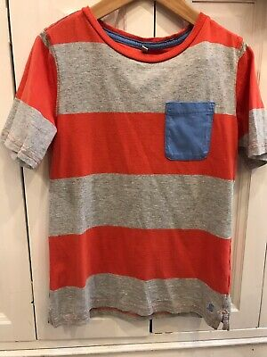 Joules Boys Age 9-10 Years T-shirt Striped Short Sleeved Pocket Detail Summer
