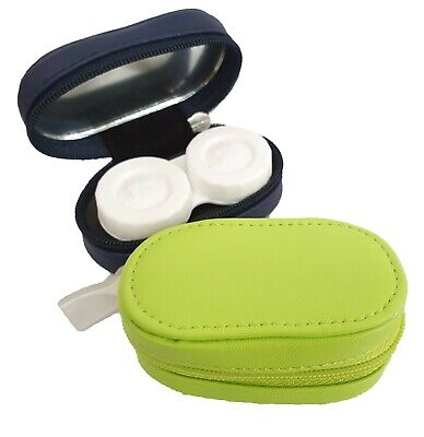 Leather Mirror Case Contact Lens Soaking Storage Case UK MADE - Lime Green