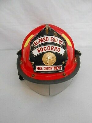 Red El Paso Bullard Firedome Brass Eagle Leather Badge Helmet Goggles Guard Fire