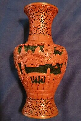 "10 1/2"" Antique C1870S Chinese Deeply Carved Cinnabar Lacquer Rare"