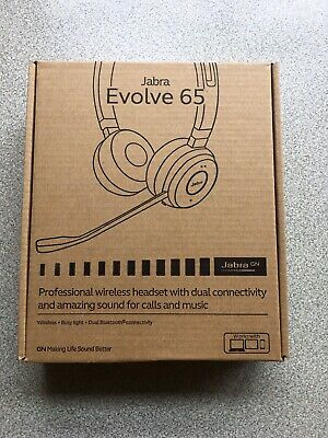 Jabra Evolve 65 UC Wireless OVER EAR Headset with Noise Cancellation Link370 NEW