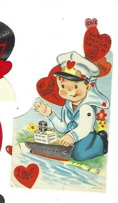 """Vntg school Valentine card SAILOR BOY ship """"You're the only gal for me in port."""""""