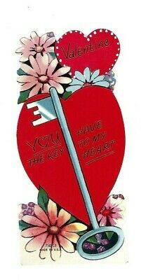 """Vntg school Valentine card """"You have the KEY TO MY HEART"""" daisies very sweet"""