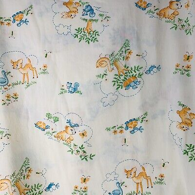 Vintage Dundee Crib Nursery Bed Sheet Yellow Bunnies Bears Ducks Kittens Animals
